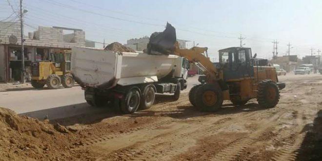 بلدية ابي الخصيب تباشر بقشط الشارع الرئيسي تمهيدا لتبليطه