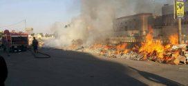 نشوب حريق في شارع الامير وسط البصرة