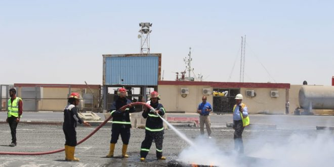 النقل : ميناء ابو فلوس التجاري يقوم بممارسة افتراضية للسيطرة على الحرائق
